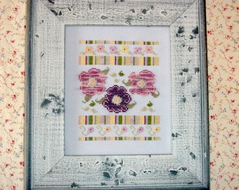 Flowers and Stripes Cross Stitch Pattern