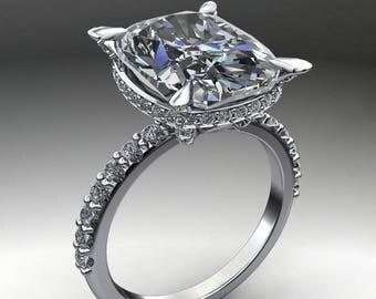 reza ring - 5.7 elongated cushion cut ZAYA moissanite engagement ring, diamond wrap, diamond prongs