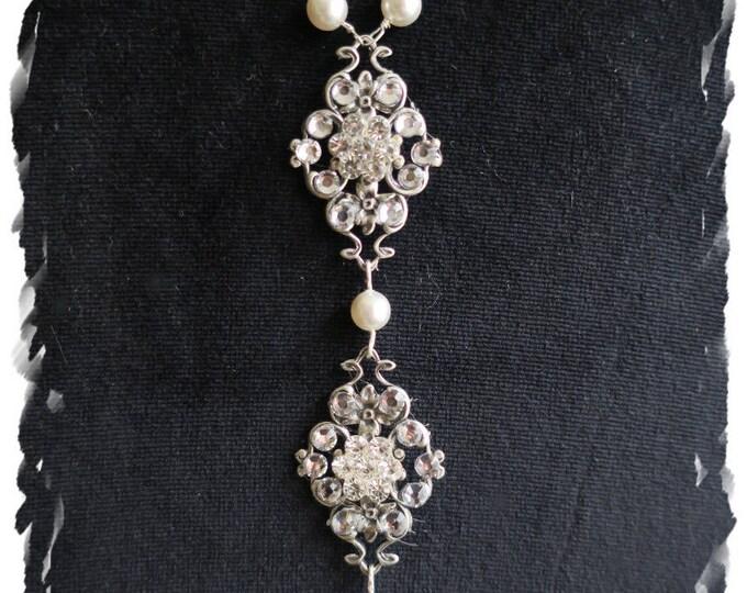 Art Deco Inspired Bridal Back Drop Necklace Luxury Great Gatsby Pearl Crystal Back Jewelry Downton Abbey Backdrop Necklace Swarovski Drop