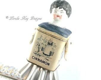 Cinnamon Tin Art Doll Box Miniature Assemblage Art Doll  Functional Art Doll Sculpture Spice Tin Doll Decoration