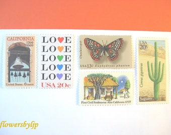 California Wedding Postage, Love - Butterfly - Mission Bell - Cactus Stamps, Mail 20 Southwestern Invitations 2 oz 71 cents postage 2018