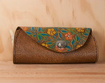 Leather Clutch - Handmade in Tooled Floral Leather in Turquoise, yellow, pink and brown - Leather Purse, Clutch, Wristlet, or Waist Bag