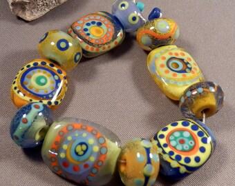 Handmade lampwork beads by Monaslampwork - Color Tabs and Rounds - Handmade Lampwork Beads by Mona Sullivan Boho Organic Tribal Bohemian