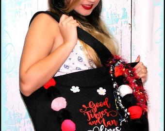 Beach, Bikini, Pom poms,  Cotton Canvas, Tote, Zippered Bag, Purse. Handbag black Ready to Ship