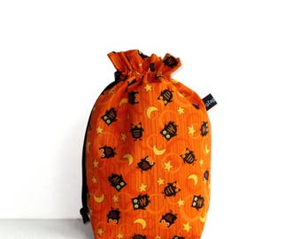 Drawstring Bag Knitting Project Padded Pouch  - Little Black Halloween Owls