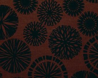 Cotton Fabric, Screen Print, Black Medallions, Benartex Fabric, Sewing Fabric, Quilting Fabric, Origins, By Jennifer Young, Reddish Brown