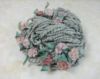 Handspun Art Yarn with Felted Flowers 50 yards sage gray dusty green pink roses