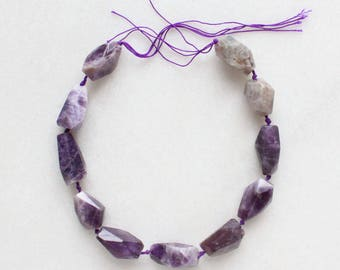 "Amethyst Faceted Gemstone Nugget Beads - 15"" strand"
