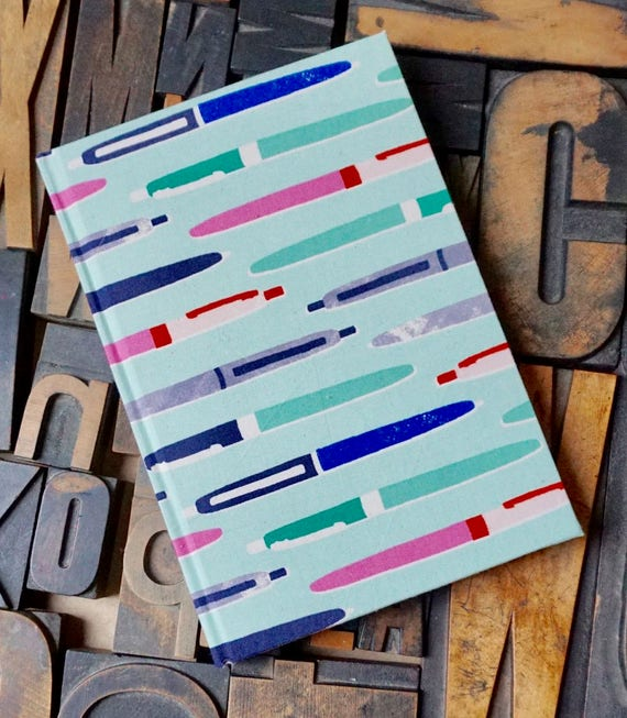 Fabric Covered Journal - Large Blank with Pen Theme
