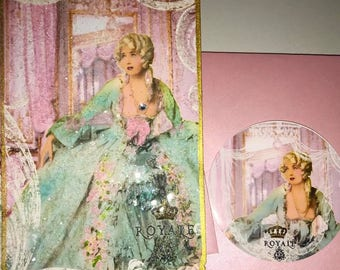 Marie Antoinette Royal Paparazzi Versailles Set of Six Beautifully Glittered Notecards with Shimmering Pink Envelopes