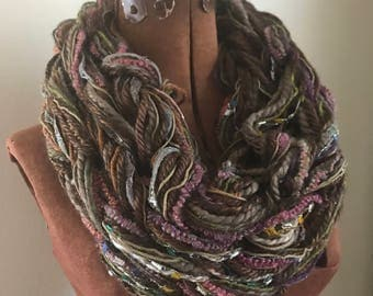 Like Tan But Better -  textured handknit bulky cowl, ready to ship, bulky lightweight warm oversized cowl