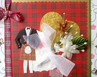 Scottish Wedding Luxury Congratulations Card - Red Tartan