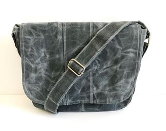 Messenger Bag No. 1 in Slate Grey Waxed Canvas