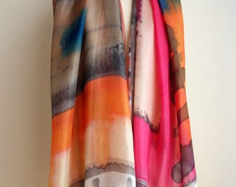 Hand Painted Silk Scarf. Very large silk scarf. Hand Painted Silk Shawl. 78x36 in. Wedding Gift. Giveaways. Gift scarf
