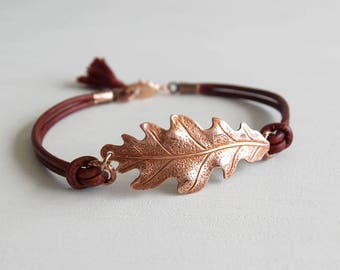 Autumn Oak Leaf Jewelry Bracelet - Rose Gold Oak Leaf Charm - Burgundy Leather - Gift for Her - Gift Guide for Her - Fall Season Gift