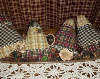 Fabric | Homespun | Hand Made | Halloween Autumn Fall | Candy Corn Tucks | Bowl Fillers
