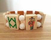 Mahjong bracelet / 8 small bamboo back tiles / carved white round coral beads / free gift bag