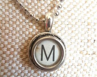 Genuine typewriter key pendant / lace setting necklace white letter M initial / upcycled jewelry / initial monogram pendant