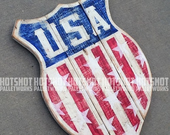 USA Shield #2, America, Americana, Stars, Stripes, Red, White, Blue. Vintage-looking upcycled wood sign, hand made, hand painted