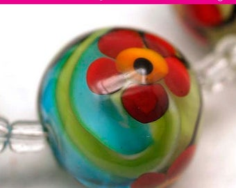 Handwork Beads - Artisan Glass Jewelry Beads - Unique Colorful Lampwork Beads - DIY Bracelet Making Beads - Multi Color 18mm Beads