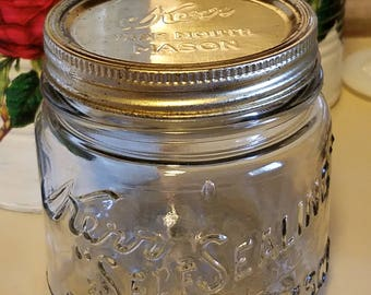 vintage kerr self sealing mason jar,antique squat pint canning jar,wide mouth mason,big embossing,kerr embossed metal lid,antique fruit jar