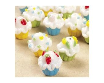 Cupcake Beads Happy Birthday Lampwork Blue Yellow Green Fun