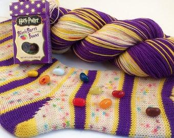 "hand dyed self striping sock yarn - ""Bertie Botts Every Flavor Beans"""