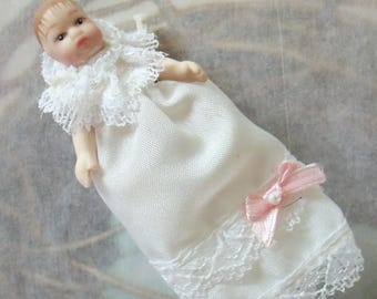 Vintage / Dollhouse Miniature / Ceramic Baby Doll