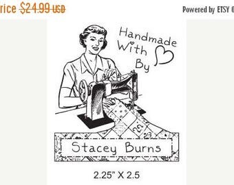 Xmas in July Woman Sewing  Custom Hand Made By Rubber Stamp AD113