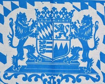 BAVARIAN German cloth placemat BAVARIA LION with crest repurpose fabric Baumwolle