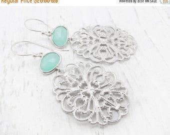 mint green earrings, briolette earrings, medallion filigree earrings, sea foam earrings,  aqua bridesmaid earrings, silver earrings