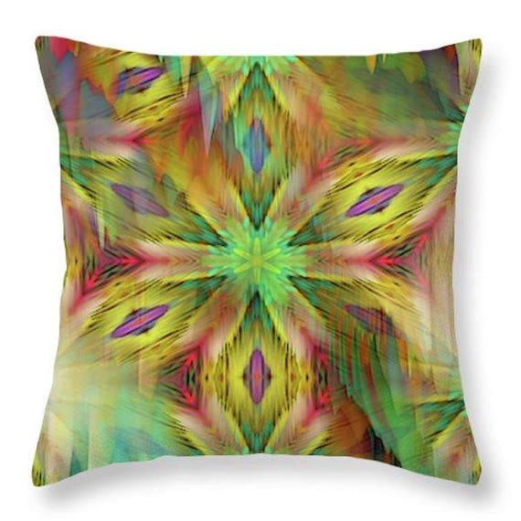 Sunrise Kaleidoscope Throw Decorative Designer Artist Created Pillow 16 inch Square with Zipper and Insert