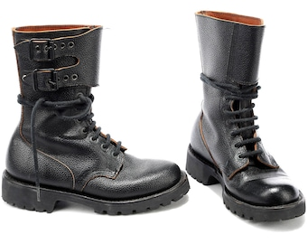 Combat Boots for Women 70s Black MILITARY Thick Leather Heavy Lace Up Rugged Sole Steampunk Rock Biker Leather size Wom Us 5.5, Eur 36, Uk 3