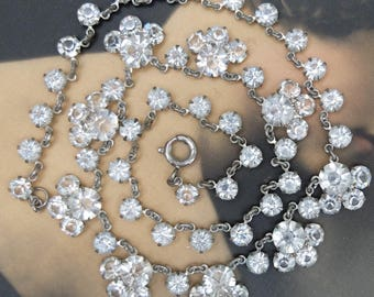Vintage Necklace Open Back Rhinestone Rhodium Plate