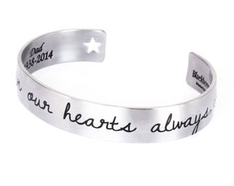 Handwriting Cuff Bracelet, Memorial Cuff Bracelet in Stainless Steel Cuff Bracelet, Engraved Quote, comes in three sizes