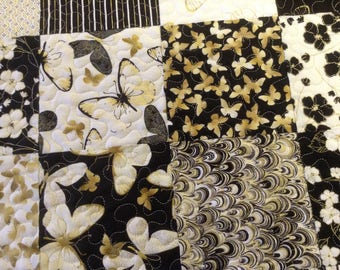 Table runner gold etched butterflies and flowers quilted patchwork dresser decor  kitchen decor dinning room accent black gold creams