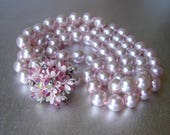 Pretty Pink Faux Pearl 2 Strand Chunky Beaded Necklace Decorative Crystal Rhinestone Flower Clasp Vintage Costume Jewelry Wedding Bridal
