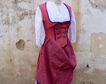 Vintage Austria German dirndl outfit embroidered dress +white lace + apron size S
