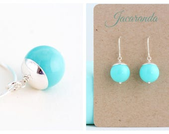 Robins Egg Blue Earrings and Necklace Sterling SIlver Jewelry Set - Dangle Earrings - Solitaire Pendant Necklace - Gift For Her