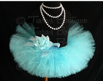 SUMMER SALE 20% OFF Girls Tutu Skirt, Aqua Blue Tutu, Birthday Tutu, Awesome Aqua, Custom Sewn Tutu