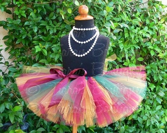 "SUMMER SALE 20% OFF Burgundy Green Gold Tutu, Girls Tutu, Bold Autumn, Sewn 8"" Tutu"