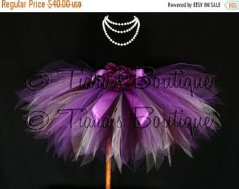 "SUMMER SALE 20% OFF Vibrant Violet Tutu - Plum Purple Lavender Custom Sewn 13"" Pixie Tutu - girls sizes 6 to 8"