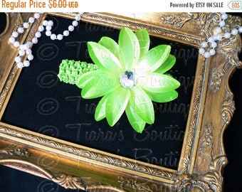SUMMER SALE 20% OFF Green Headband Photo Prop for Girls and Babies - Lime Green Lily Headband - Flower Headband Made to Match Your Tutu