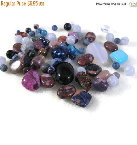 Memorial Day SALE - Gemstone Bead Mix, Purple & Pink Gemstone Grab Bag, 75 Beads for Making Jewelry, Assorted Shapes and Sizes (L-Mix7a)