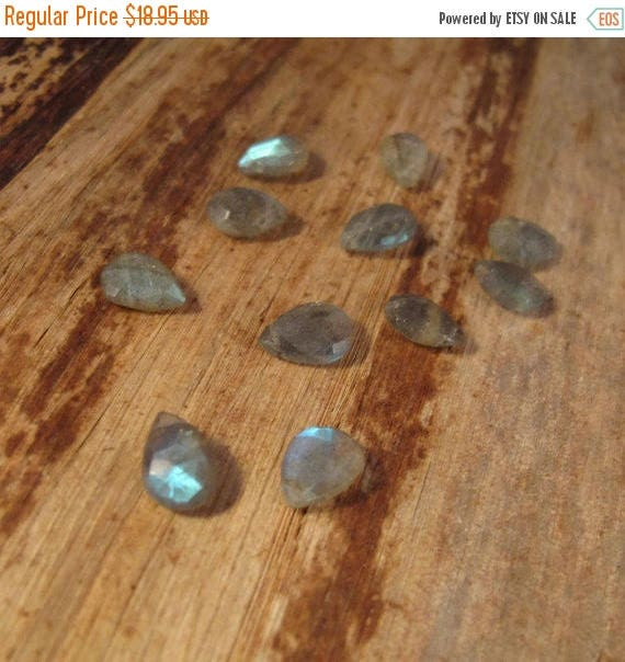 Summer SALEabration - Ten Labradorite Beads, 10 Faceted Gemstones for Making Jewelry, 8x6mm - 11x7mm, Natural Gemstones with Flash (B-Lab4c)