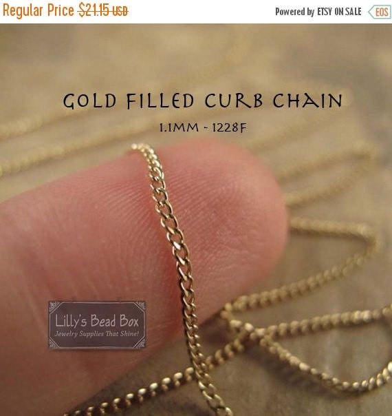 Summer SALEabration - Gold Curb Chain, 3 Feet Gold of Filled Chain, 1.1mm, Chain for Jewelry Making, Supplies (1228f)