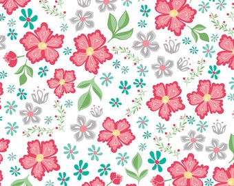 Flora and Fawn by Amanda Herring for Riley Blake, Main Floral on white, 1 yard