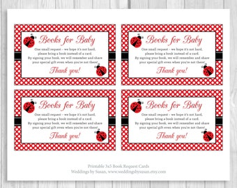 SALE Printable Ladybug Baby Shower Book Request Cards - Sheet of 3x5 Books for Baby Cards - Red and White Polka Dots - Instant Download
