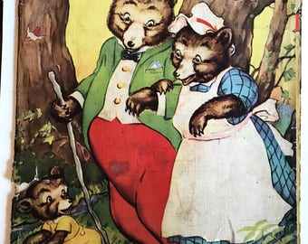 The Three Bears 1941 Vintage Paper Book - As IS - Has great llustrations