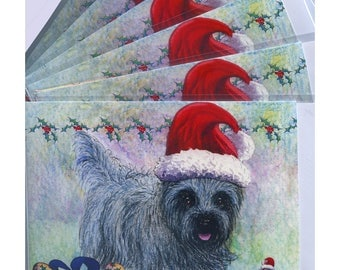 6 x Cairn terrier dog in Santa hat robin friends from one pal to another holiday Christmas greeting art cards from a Susan Alison watercolor